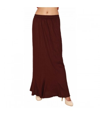 Women Dark Brown Rayon Long Skirt