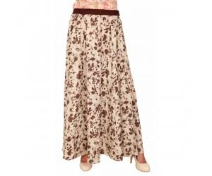 Rayon Women Beige Printed Long Skirt