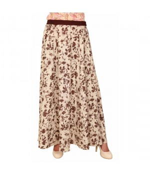 Rayon Women Beige Printed Long Skirt