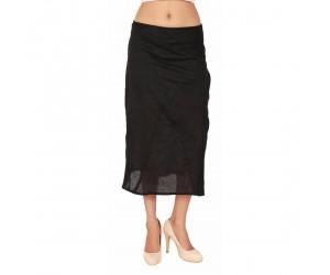 Plain Black Women's Medium-Length Skirt