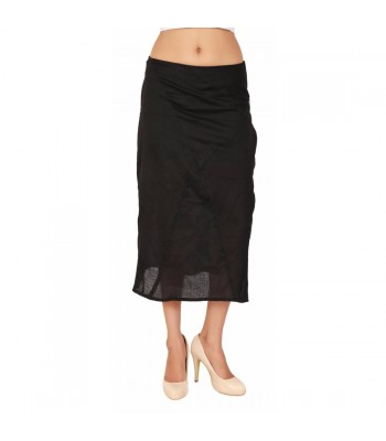 Plain Black Women's Medium-Length Skirt