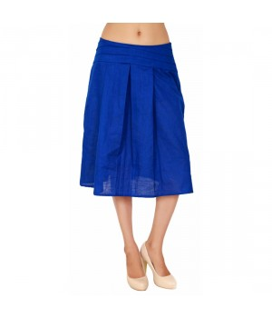 Royal Blue Medium Length Skirt For Women