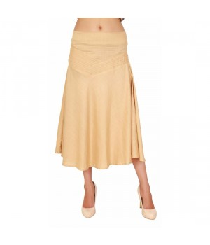 Medium Length Beige Women's Plain Skirt