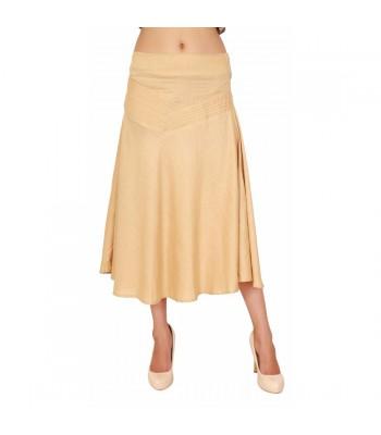 Medium Length Beige Women's Plain Skirt