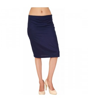 Navy Blue Rayon Fabric Women's Palin Dyed Skirt
