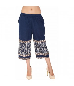 Navy Blue Cotton Capri For Women