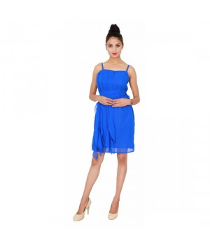 The Royal Blue Georgette Womne's Plain One Piece