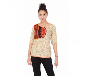 Beige Cotton Printed Round Neck 3/4th Sleeves Women Top