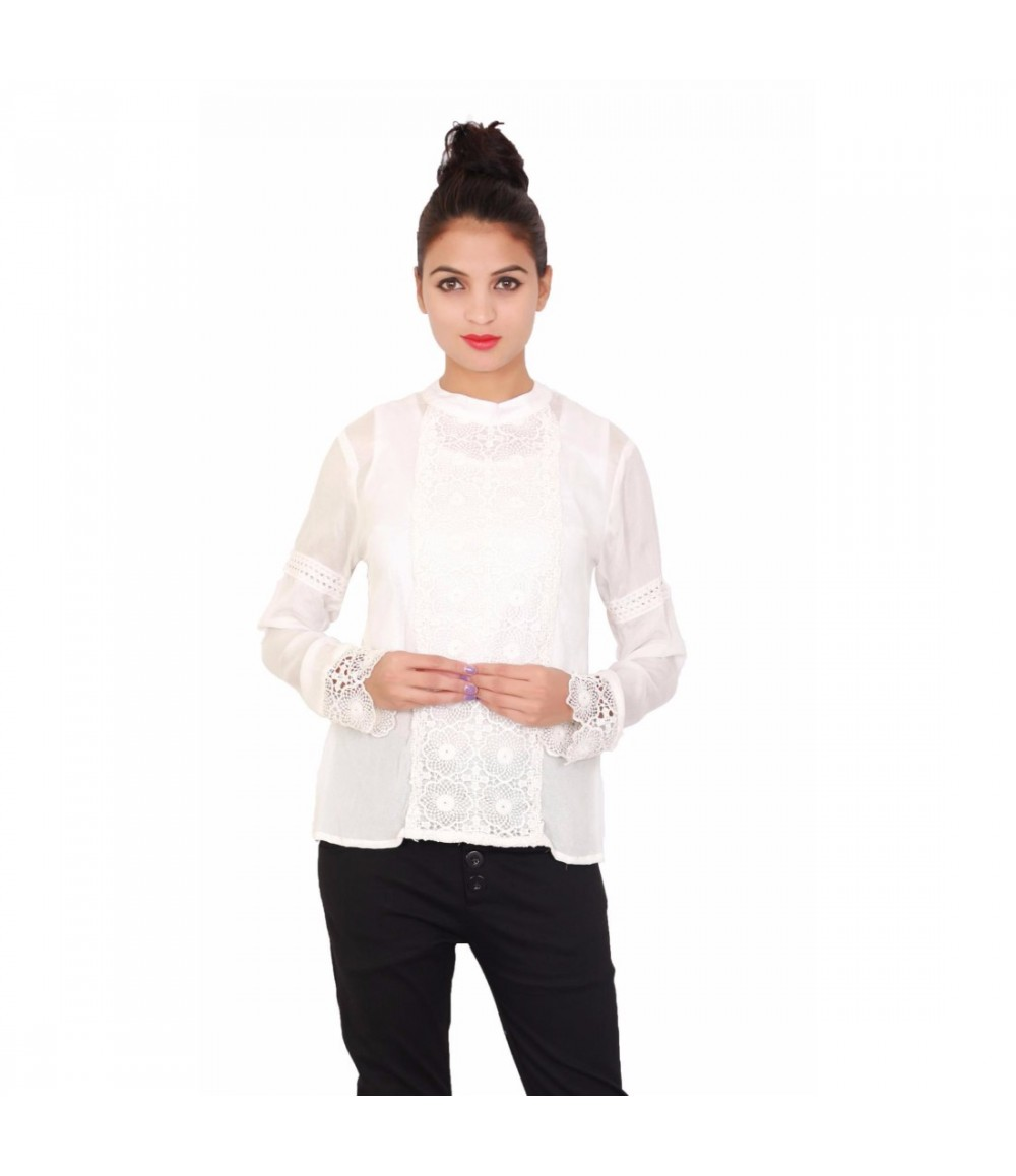 Off-White Standing Collar Neck Women's Top
