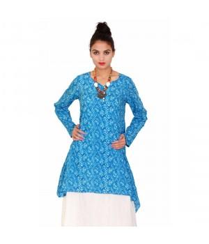 Blue Printed Women's Full Sleeves Cotton Dress