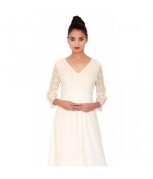Ivory Rayon 3/4th sleeved Women's Evening Dress