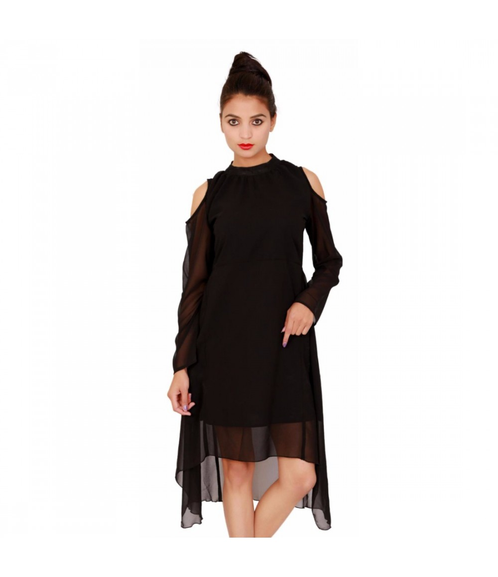 Black Georgette Women's Full Sleeves Dress