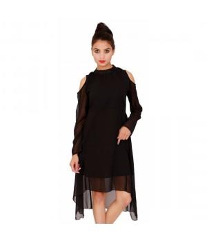 Black Georgette Women's Full Sleeves Dress
