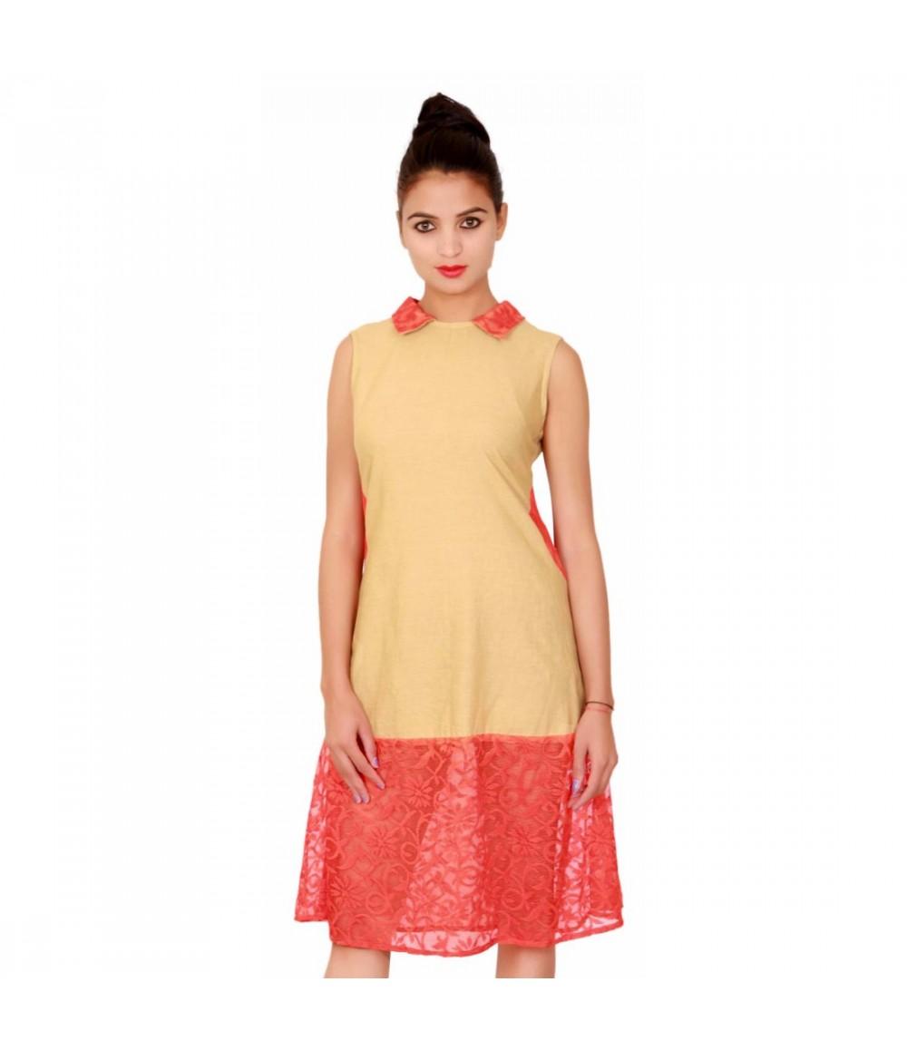 Beige Collared Women's Sleeveless Cotton Dress