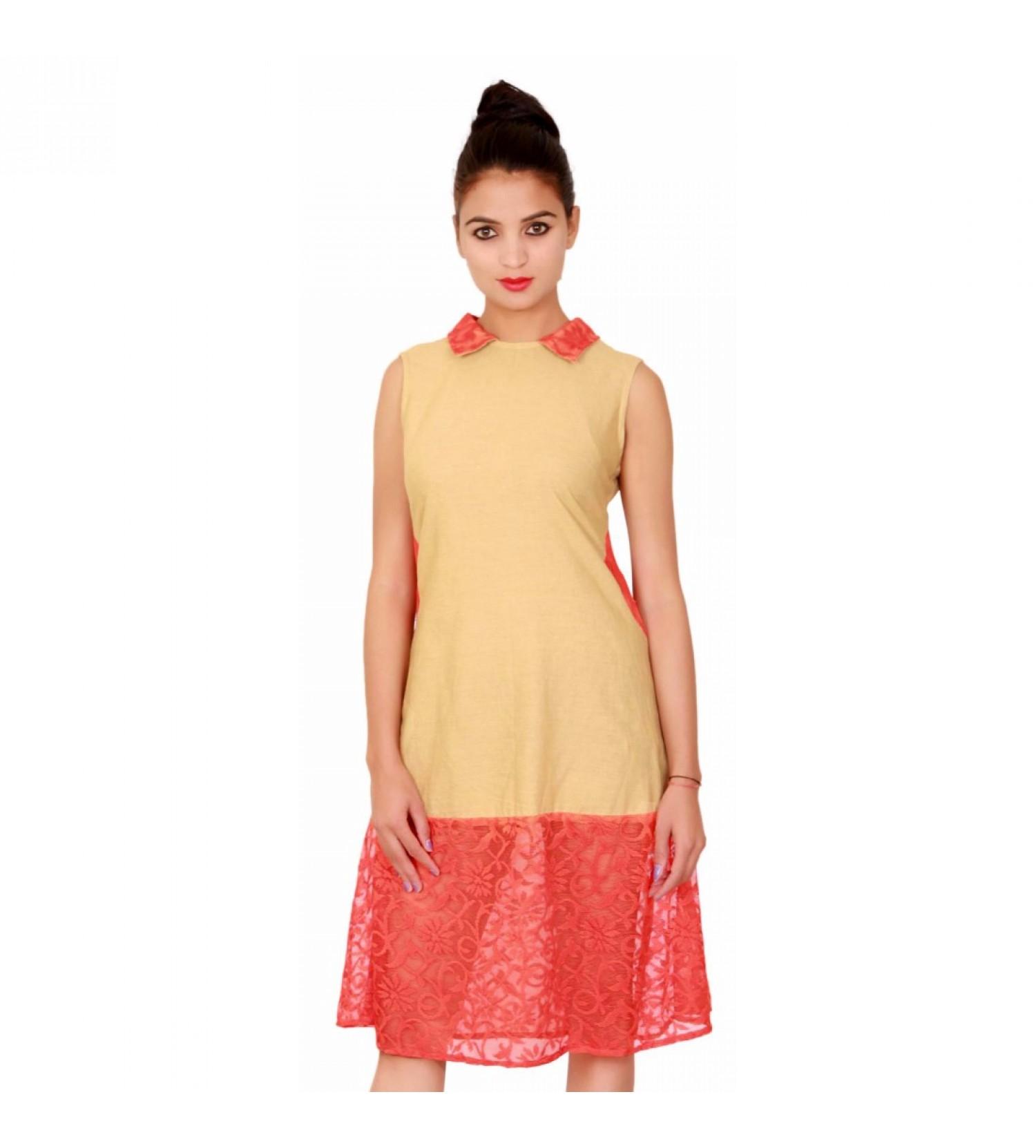Buy Charu Fashions beige cotton women kurti Online at 66% Off | CF-5134