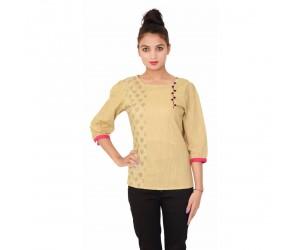 Beige Round Neck Women's 3/4th sleeves Cotton Top