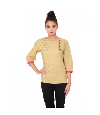 Beige Round Neck Women's 3/4th sleeves Cotton Top